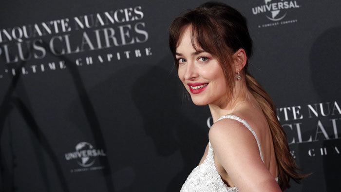 Dakota Johnson na parížskej premiére filmu Fifty Shades Freed